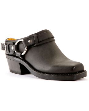 Frye Women's Classic Belted Harness Mules, Black, hi-res