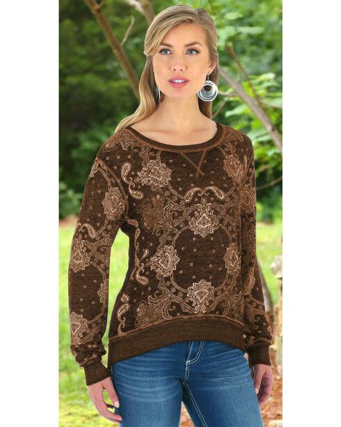 Wrangler Women's Brown Bandana Printed Sweater Top, Brown, hi-res