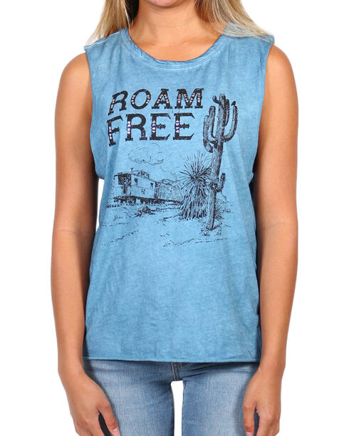I.O.C. Women's Roam Free Graphic Muscle Tank, Light Blue, hi-res