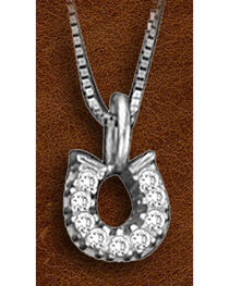 Kelly Herd Sterling Silver Tiny Rhinestone Horseshoe Charm Necklace, , hi-res