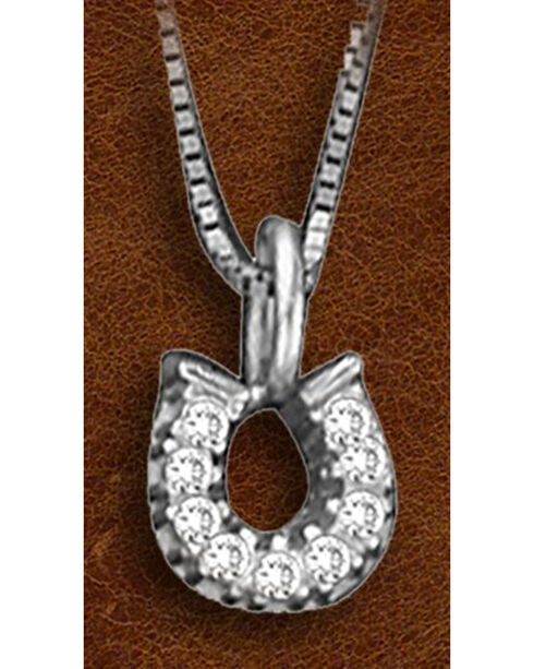 Kelly Herd Sterling Silver Tiny Rhinestone Horseshoe Charm Necklace, Silver, hi-res