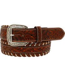 Ariat Men's Leather Floral Embossed Laced Edge Belt , , hi-res