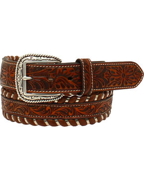 Ariat Men's Leather Floral Embossed Laced Edge Belt , Beige/khaki, hi-res