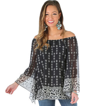 Wrangler Women's Off the Shoulder Print Shirt, Black, hi-res