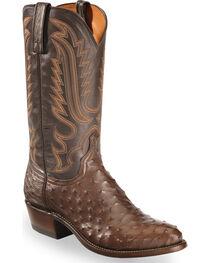 Lucchese Men's Dark Brown Luke Full Quill Ostrich Boots - Medium Toe , , hi-res