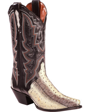 Dan Post Women's Natural Water Snake Triad Cowgirl Boots - Snip Toe , Natural, hi-res