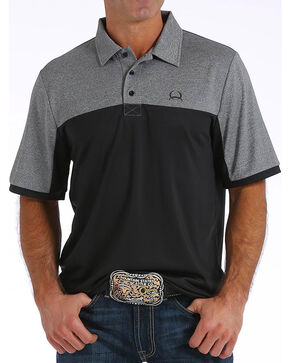 Cinch Men's ArenaFlex Color Block Tech Polo, Black, hi-res