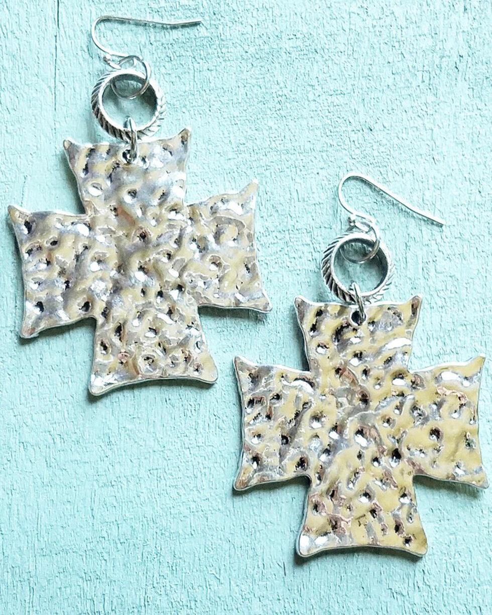 Jewelry Junkie Women's Hammered Silver Cross On Hoop Earrings, Silver, hi-res
