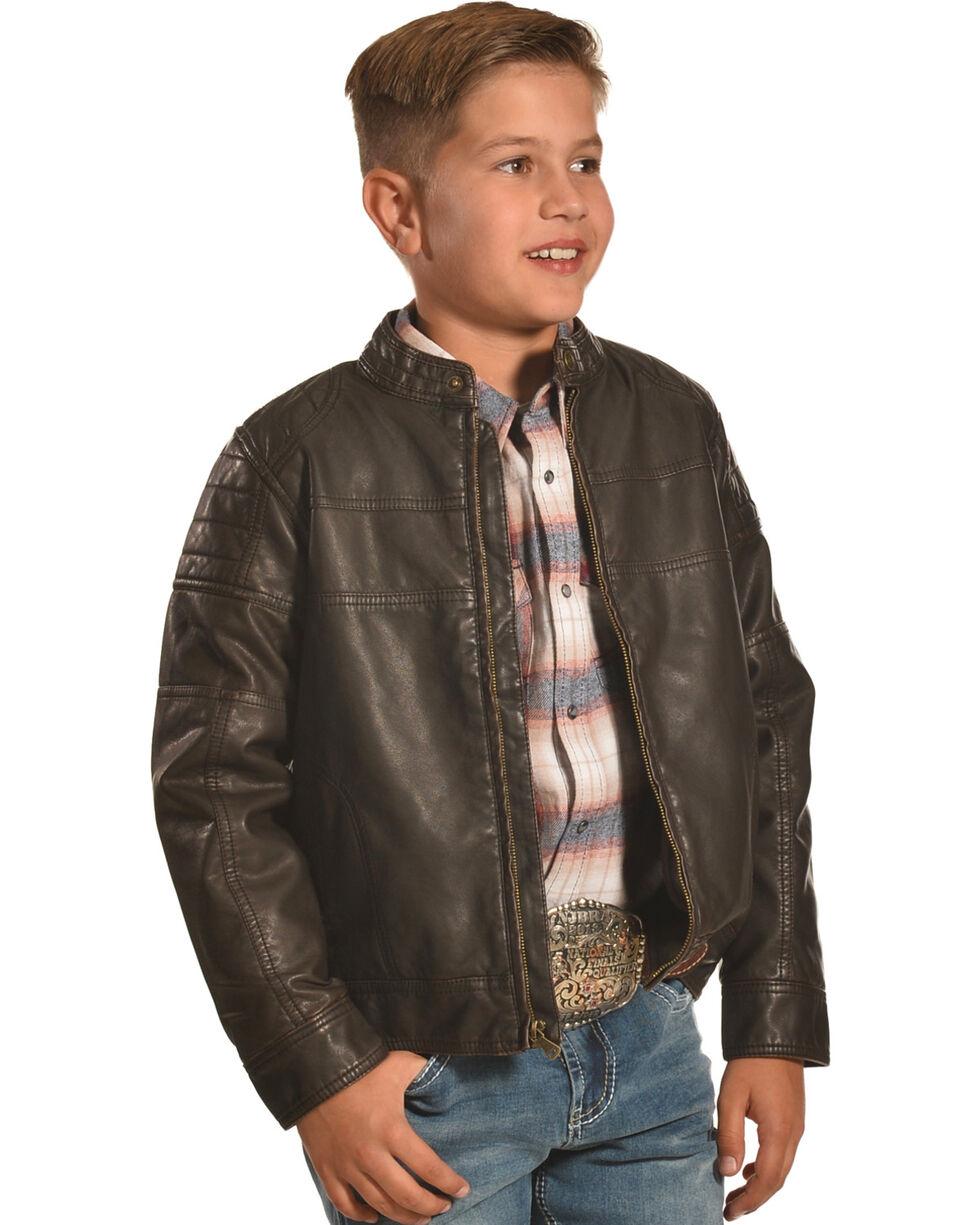 Cody James Boys' Devils Bend Moto Jacket, Brown, hi-res