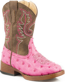 Roper Toddler Girls' Pink Ostrich Print Boots - Square Toe, , hi-res