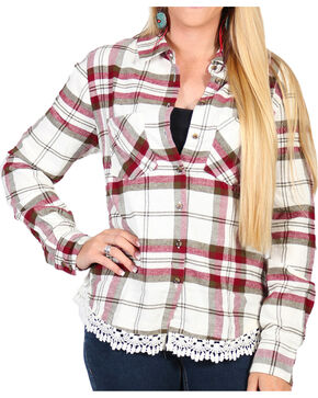 Shyanne Women's Plaid Lace Hem Cotton Flannel Shirt, Ivory, hi-res