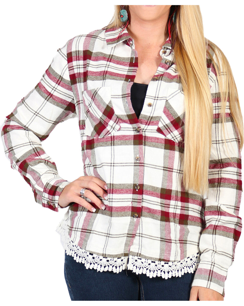 Shyanne Women's Plaid Lace Hem Cotton Flannel Shirt, , hi-res