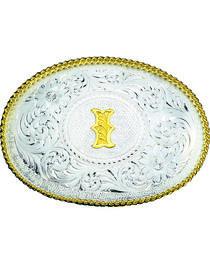 Montana Silversmiths Engraved Initial I Western Belt Buckle, , hi-res