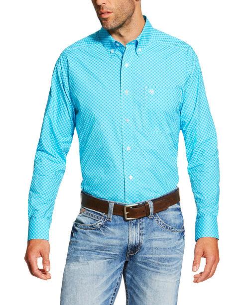 Ariat Men's Geo Pattern Long Sleeve Western Shirt, Turquoise, hi-res