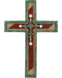 M&F Western Turquoise and Silver Cross Wall Decor, , hi-res