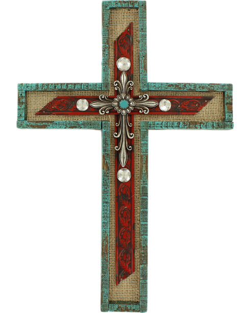 M&F Western Turquoise and Silver Cross Wall Decor, No Color, hi-res