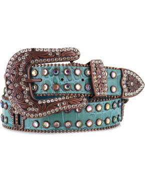 Shyanne® Women's Gator Embossed Belt, Blue, hi-res