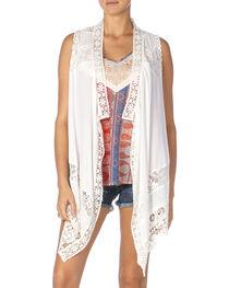 Miss Me Women's White Lace Vest, , hi-res