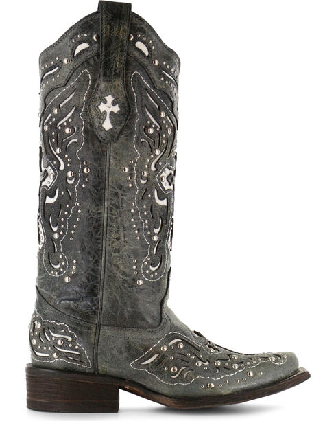 Corral Women's Studded Cross and Wing Western Boots, Black, hi-res