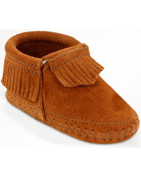 Minnetonka Infant Girl's Riley Moccasin Booties, Brown, hi-res