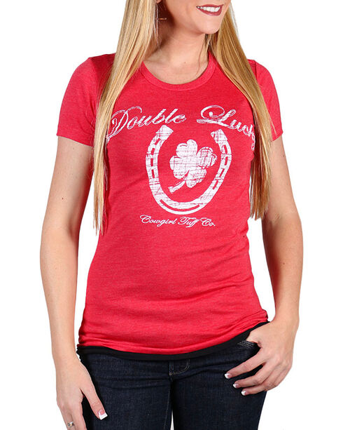 Cowgirl Tuff Women's Double Lucky Shirt , Red, hi-res