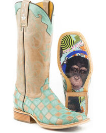 Tin Haul Women's No Evil with Chimp Sole Cowgirl Boots - Square Toe, , hi-res