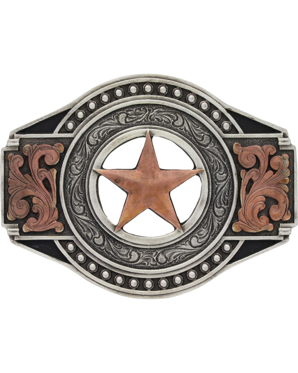 Montana Silversmiths Texas Ranger Star Buckle, Silver, hi-res