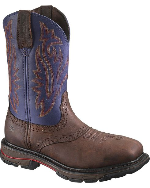 Wolverine Men's Javalina Steel Toe Pull-On Work Boots, Brown, hi-res