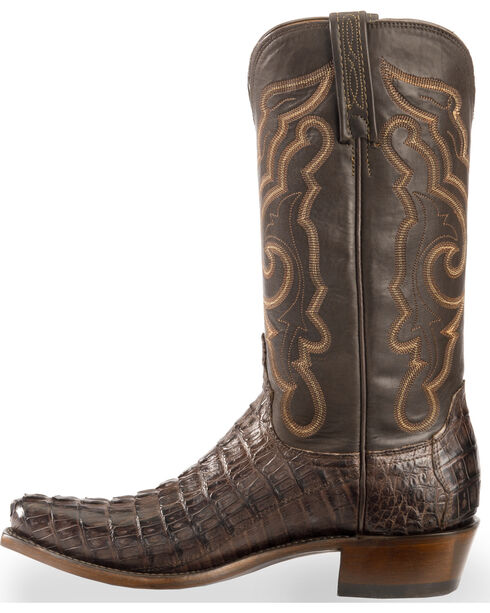 Lucchese Men's Handmade Brown Franklin Hornback Caiman Tail Boots - Snip Toe , Dark Brown, hi-res