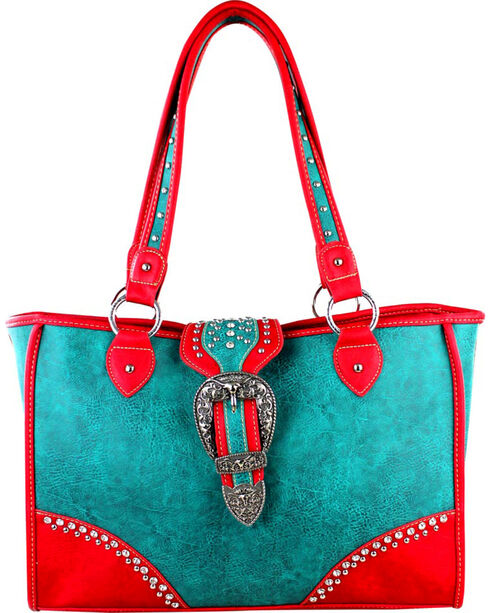 Montana West Turquoise Buckle Dual Side Concealed Handgun Handbag, Turquoise, hi-res
