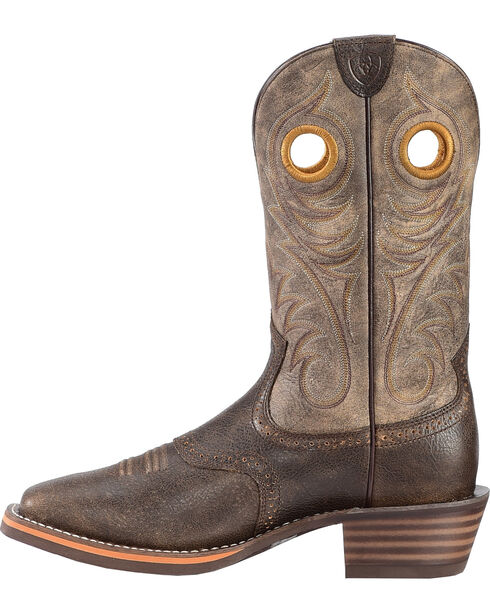 Ariat Men's Brown Heritage Roughstock Western Boots - Square Toe , Brown, hi-res