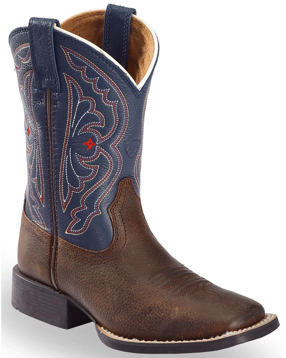 Ariat Boys' Royal Blue Quickdraw Cowboy Boots - Square Toe, Brown, hi-res