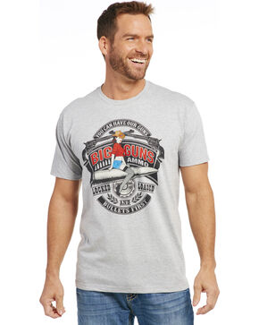 Cowboy Up Men's Heather Grey Big Guns Short Sleeve T-Shirt , Heather Grey, hi-res
