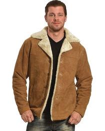 Vintage Leather Men's Sherpa-Lined Suede Coat, , hi-res