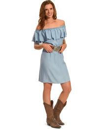 Ruby Rd. Women's Scoop Neck with Ruffle Denim Dress, , hi-res