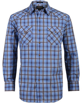Pendleton Men's Western Plaid Long Sleeve Shirt, Brown/blue, hi-res