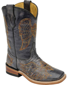 Corral Girls' Black Multi Color Wing and Cross Boots - Square Toe, Black, hi-res