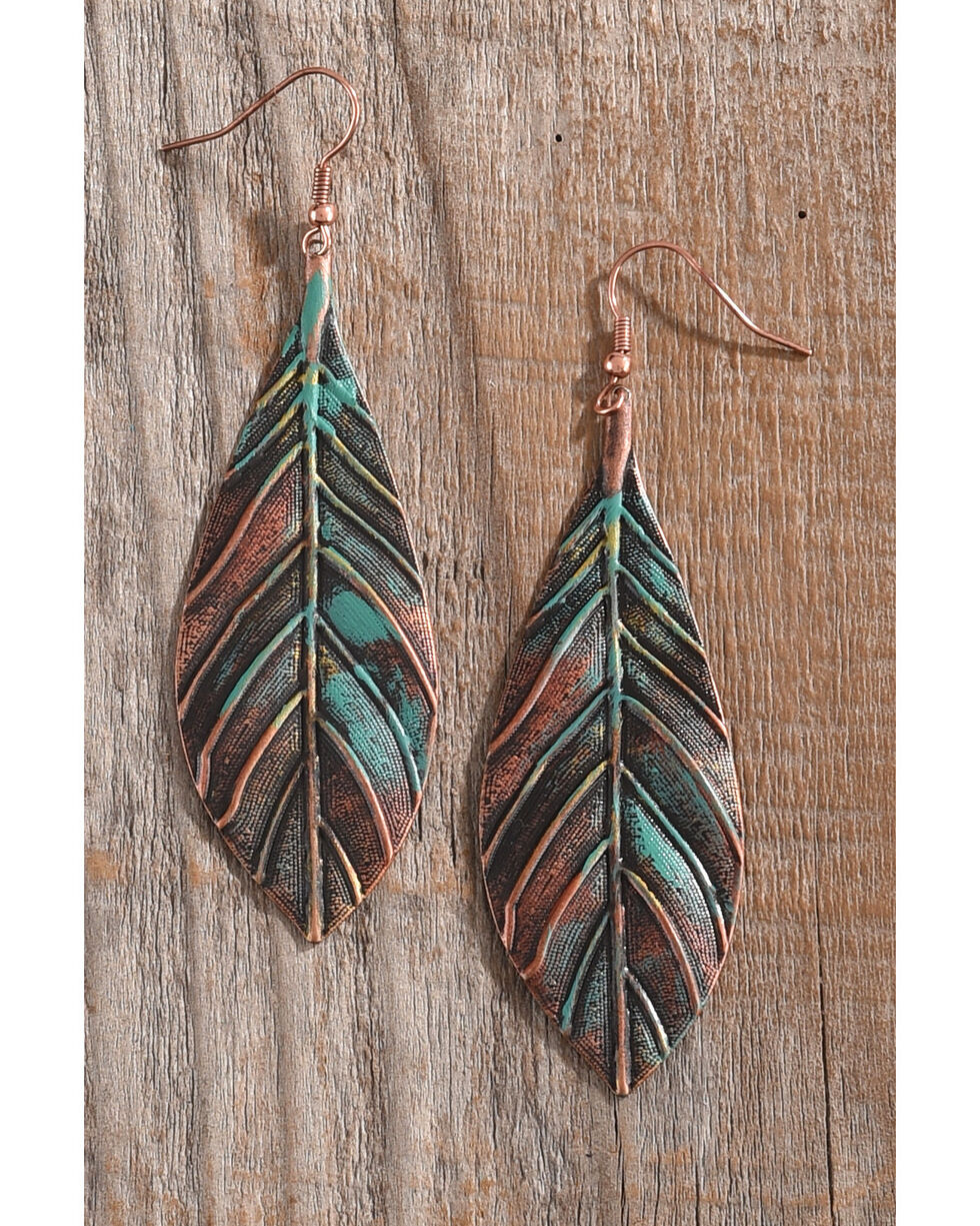 Shyanne Women's Multi Color Patina Leaf Earrings, Rust Copper, hi-res