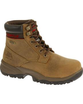 """CAT Women's Dryverse 6"""" Waterproof Steel Toe Work Boots, Beige, hi-res"""
