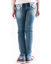 Grace in LA Girls' Indigo (7-16) Scroll Pocket Jeans - Skinny , , hi-res