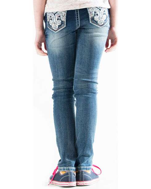 Grace in LA Girls' Indigo (7-16) Scroll Pocket Jeans - Skinny , Indigo, hi-res
