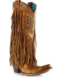 Corral Women's Aztec & Fringe Snip Toe Western Boots, , hi-res