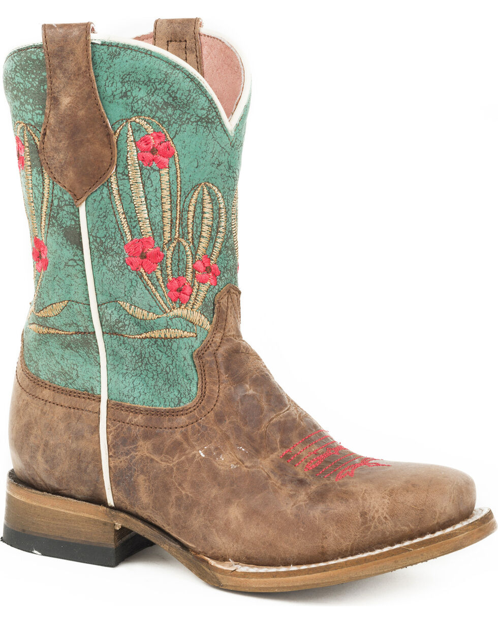 Roper Girls' Cactus Cutie Burnished Brown/Turquoise Cowgirl Boots - Square Toe, Brown, hi-res