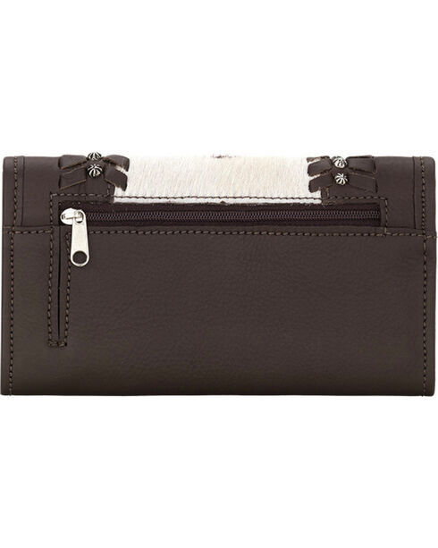 American West Women's Cow Town Chocolate Pony Hair Tri-Fold Wallet , Chocolate, hi-res