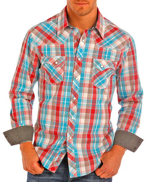 Rock & Roll Cowboy Men's Crinkle Plaid Western Shirt, Turquoise, hi-res