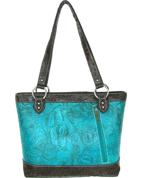 Savana Turquoise Floral Tooled Conceal Carry Purse, Turquoise, hi-res