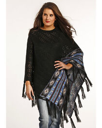 Powder River Outfitters Women's Chevron Knit Stitch Poncho, , hi-res
