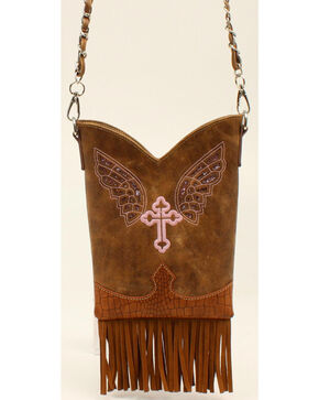 Blazin Roxx Cross & Wings Fringe Crossbody Purse , Brown, hi-res