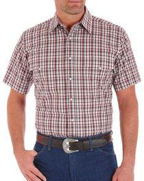 Wrangler Men's Plaid Snap Short Sleeve Shirt, Brown, hi-res