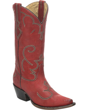 Corral Women's Laser and Tumbling Cowgirl Western Boots, Red, hi-res